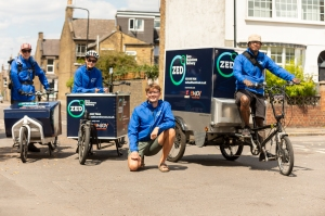 four couriers with bikes